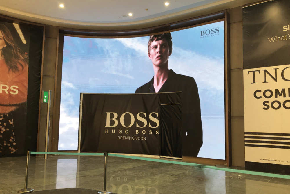 Ledeca Curved shop front screen for Hugo Boss